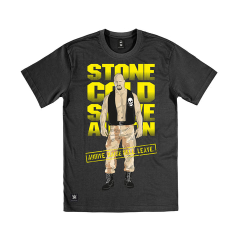 WWE Black Label Stone Cold Steve Austin Official Men's T-shirt (Black) - Urban Species Mens Short Sleeved T-Shirt