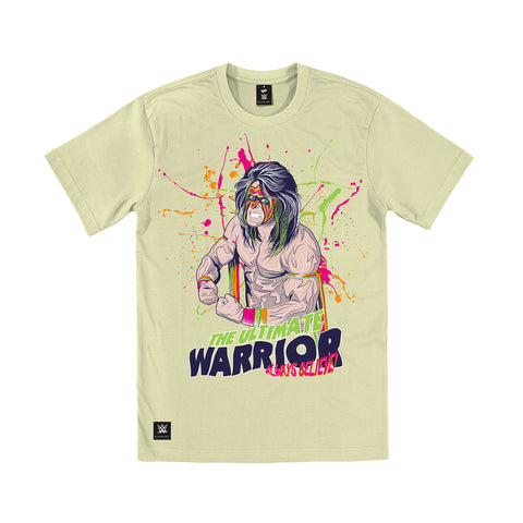 WWE Black Label Ultimate Warrior Official Men's T-shirt (ECRU) - Urban Species Mens Short Sleeved T-Shirt