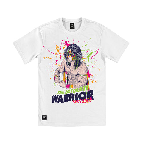 WWE Black Label Ultimate Warrior Official Men's T-shirt (White) - Urban Species Mens Short Sleeved T-Shirt