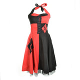 DC Comics Harley Quinn Split Diamond Official Women's Dress (Black) - Urban Species Ladies Long Tank Dress