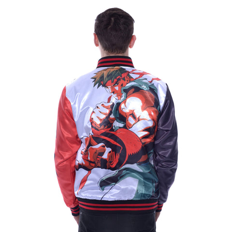 Street Fighter Ryu Knockout Men's Varsity Jacket (Red/Black) - Urban Species Varsity Jacket