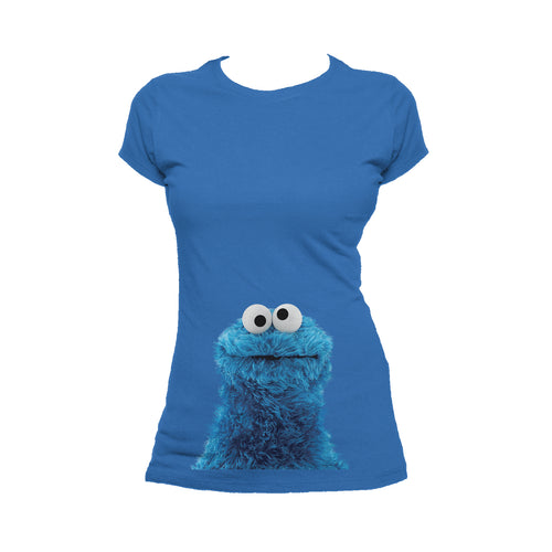 Sesame Street Cookie Monster Photo Head Official Women's T-Shirt (Royal Blue) - Urban Species Ladies Short Sleeved T-Shirt