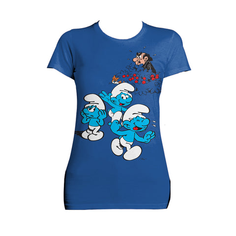 The Smurfs Group Smurfs Gargamel Official Women's T-Shirt (Royal Blue) - Urban Species Ladies Short Sleeved T-Shirt