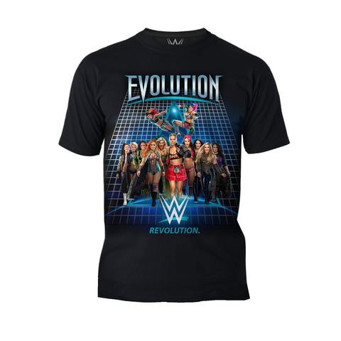 WWE Evolution Women Superstars Officially Licensed Men's T-Shirt (Black)