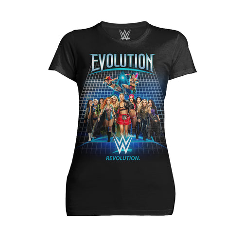 WWE Evolution Women Superstars Officially Licensed Women's T-Shirt (Black)