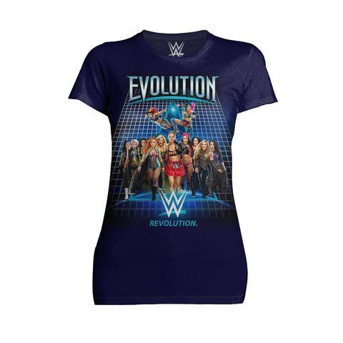 WWE WWE Evolution Women Superstars Officially Licensed Women's T-Shirt (Navy)