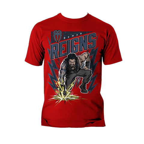 WWE Roman Reigns Comic Splash Official Men's T-shirt (Red) - Urban Species Mens Short Sleeved T-Shirt