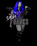 WWE Sasha Banks Atomic Blue Official Men's T-Shirt (Black)
