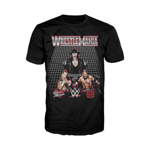 WWE WrestleMania Undertaker Shawn Michaels Triple H Officially Licensed Men's T-Shirt (Black)