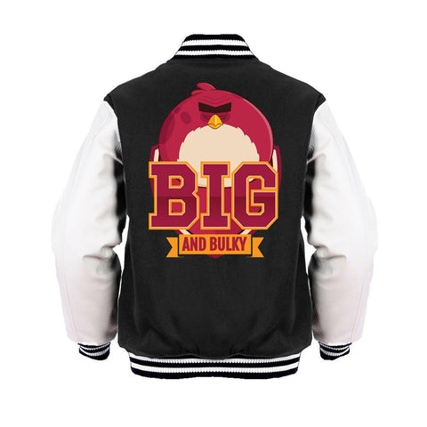Angry Birds Terence Text Big Official Varsity Jacket (Black) - Urban Species Mens Varsity Jacket