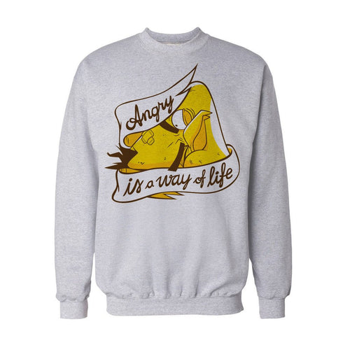 Angry Birds Chuck Text Way Life Official Sweatshirt (Heather Grey) - Urban Species Mens Sweatshirt