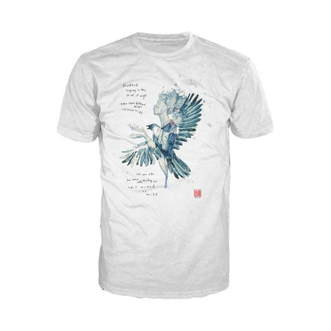 Beatles David Mack Blackbird Official Men's T-shirt (White) - Urban Species Mens Short Sleeved T-Shirt