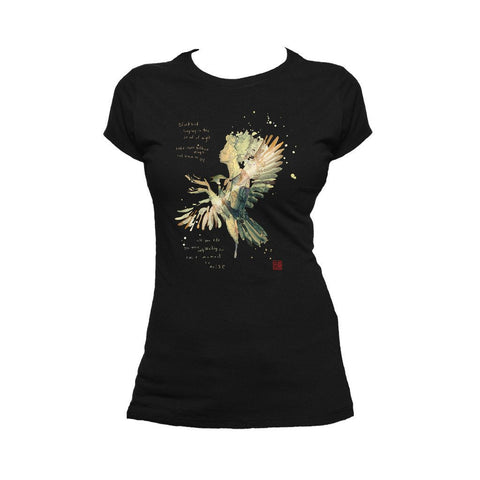 Beatles David Mack Blackbird Official Women's T-shirt (Black) - Urban Species Ladies Short Sleeved T-Shirt