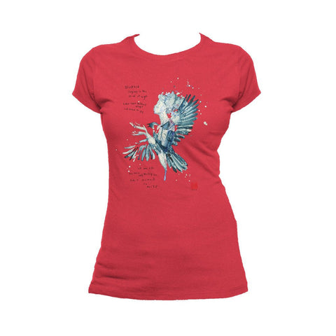 Beatles David Mack Blackbird Official Women's T-shirt (Red) - Urban Species Ladies Short Sleeved T-Shirt
