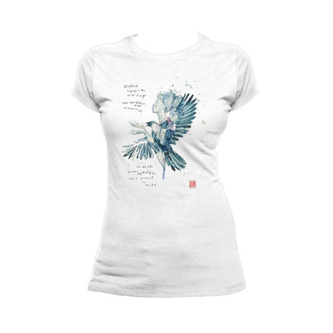 Beatles David Mack Blackbird Official Women's T-shirt (White) - Urban Species Ladies Short Sleeved T-Shirt