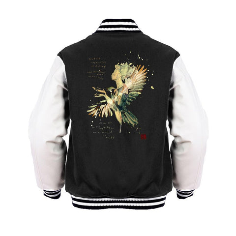 Beatles David Mack Blackbird Official Varsity Jacket (Black) - Urban Species Mens Varsity Jacket