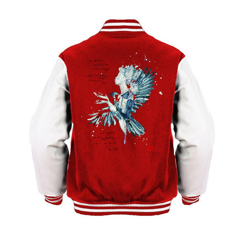 Beatles David Mack Blackbird Official Varsity Jacket (Red) - Urban Species Mens Varsity Jacket