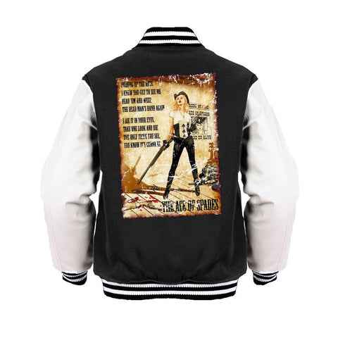Motorhead Mike Mayhew Ace of Spades Official Varsity Jacket (Black) - Urban Species Mens Varsity Jacket