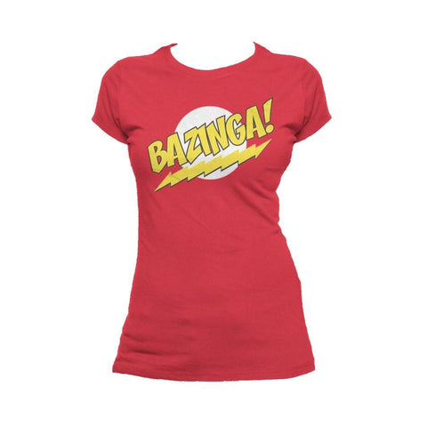 Big Bang Theory Logo Bazinga Official Women's T-Shirt (Red) - Urban Species Ladies Short Sleeved T-Shirt