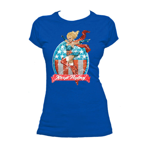 DC Comics Bombshells Supergirl Badge Keep Flying Official Women's T-shirt (Royal Blue) - Urban Species Ladies Short Sleeved T-Shirt