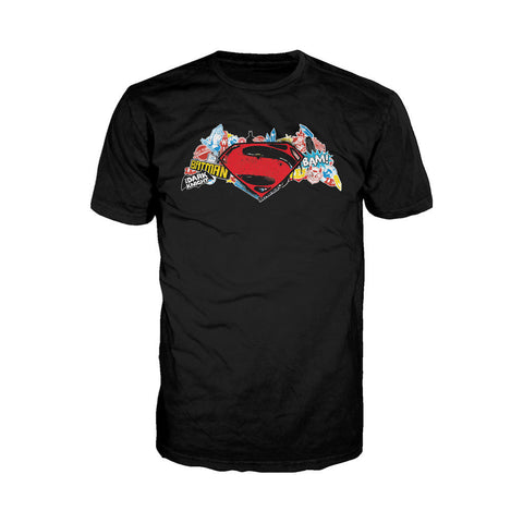 DC Batman V Superman Logo Stencil Official Men's T-shirt (Black) - Urban Species Mens Short Sleeved T-Shirt