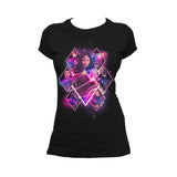 DC Justice League Neon Wonder Woman Official Women's T-shirt (Black) - Urban Species Ladies Short Sleeved T-Shirt