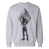 DC Justice League Logo Aquaman Trident Official Sweatshirt (Heather Grey)