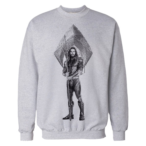 DC Justice League Logo Aquaman Trident Official Sweatshirt (Heather Grey) - Urban Species Sweatshirt