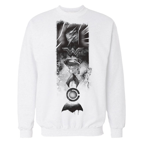 DC Justice League Logo Grunge Official Sweatshirt (White) - Urban Species Mens Sweatshirt