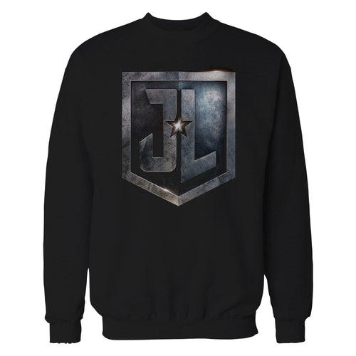 DC Justice League Logo Metallic Official Sweatshirt (Black) - Urban Species Sweatshirt