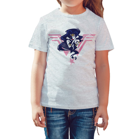 DC Justice League +Logo Wonder Woman Official Kid's T-Shirt (Heather Grey) - Urban Species Kids Short Sleeved T-Shirt
