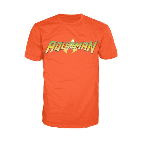 DC Comics Aquaman Distressed Logo Official Men's T-shirt (Orange) - Urban Species Mens Short Sleeved T-Shirt
