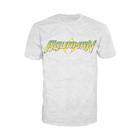 DC Comics Aquaman Distressed Logo Official Men's T-shirt (Heather Grey)