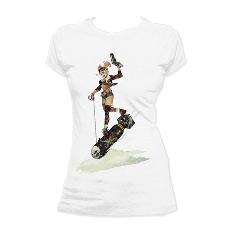DC Comics Bombshells Harley Quinn Character Bomb Official Women's T-shirt (White) - Urban Species Ladies Short Sleeved T-Shirt