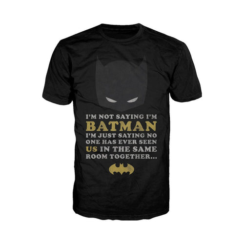 DC Comics Batman Text Not Saying Official Men's T-Shirt (Black) - Urban Species Mens Short Sleeved T-Shirt