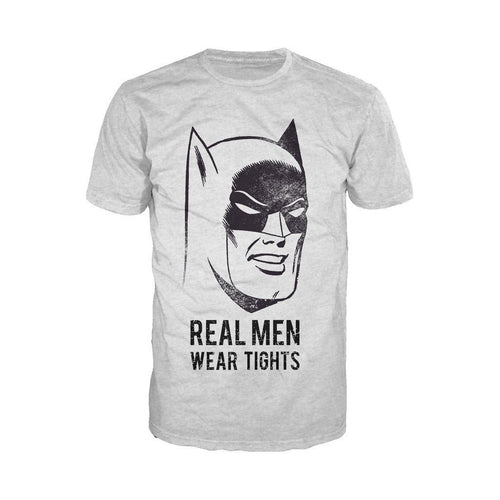 DC Comics Batman Text Real Men Tights Official Men's T-shirt (Heather Grey) - Urban Species Mens Short Sleeved T-Shirt