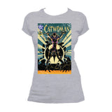 DC Comics Retro Catwoman Cover #55 Official Women's T-shirt (Heather Grey) - Urban Species Ladies Short Sleeved T-Shirt