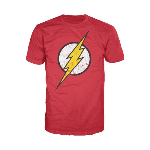 DC Comics Flash Modern Distressed Logo Official Men's T-shirt (Red) - Urban Species Mens Short Sleeved T-Shirt