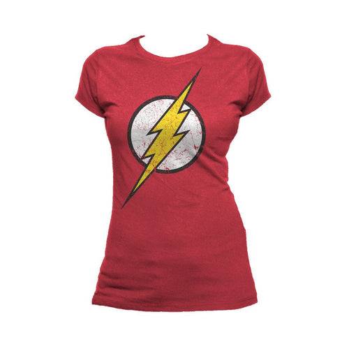 DC Comics Flash Modern Distressed Logo Official Women's T-shirt (Red) - Urban Species Ladies Short Sleeved T-Shirt