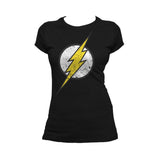DC Comics Flash Modern Distressed Logo Official Women's T-shirt (Black) - Urban Species Ladies Short Sleeved T-Shirt