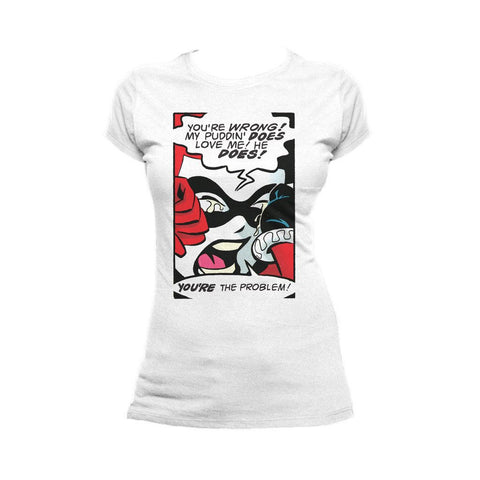 DC Comics Harley Quinn Panel Puddin 01 Official Women's T-Shirt (White) - Urban Species Ladies Short Sleeved T-Shirt