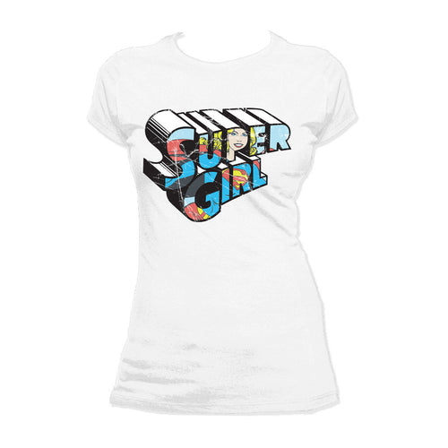 DC Comics Retro Supergirl Logo Character Distressed Official Women's T-shirt (White) - Urban Species Ladies Short Sleeved T-Shirt