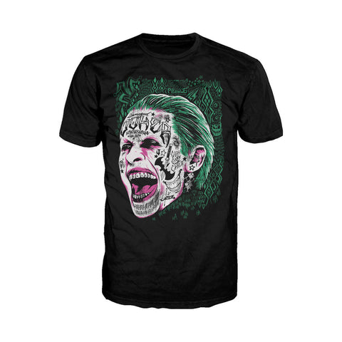 DC Suicide Squad Harley Quinn Joker Face Tattoo Official Men's T-shirt (Black) - Urban Species Mens Short Sleeved T-Shirt
