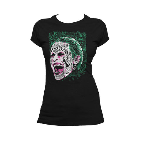 DC Suicide Squad Harley Quinn Joker Face Tattoo Official Women's T-shirt (Black) - Urban Species Ladies Short Sleeved T-Shirt