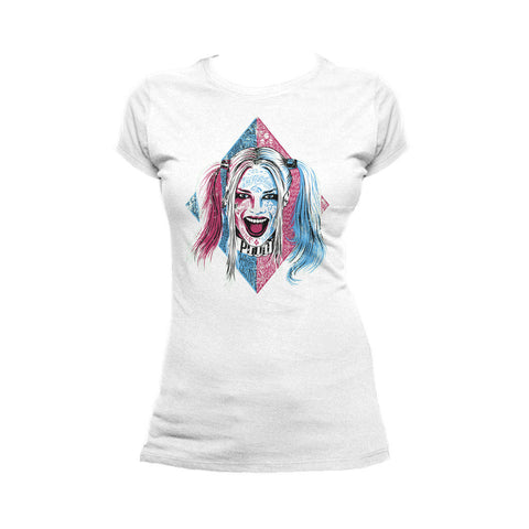 DC Suicide Squad Harley Quinn Lil Face Official Women's T-shirt (White) - Urban Species Ladies Short Sleeved T-Shirt
