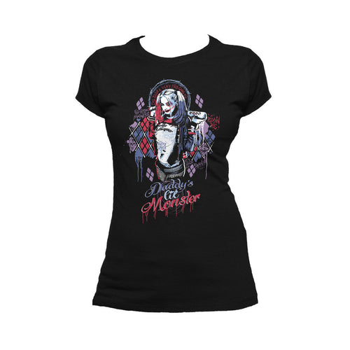 DC Suicide Squad Harley Quinn Lil Monster Official Women's T-shirt (Black) - Urban Species Ladies Short Sleeved T-Shirt