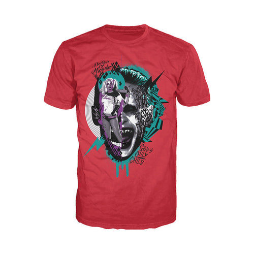 DC Suicide Squad Joker-Harley Quinn Collage Official Men's T-shirt (Red) - Urban Species Mens Short Sleeved T-Shirt
