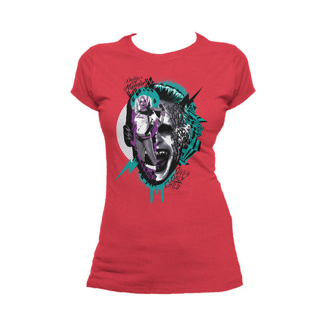 DC Suicide Squad Joker-Harley Quinn Collage Official Women's T-shirt (Red) - Urban Species Ladies Short Sleeved T-Shirt