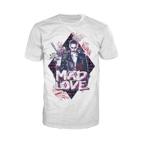 DC Suicide Squad Joker-Harley Quinn Mad Love Official Men's T-shirt (White) - Urban Species Mens Short Sleeved T-Shirt
