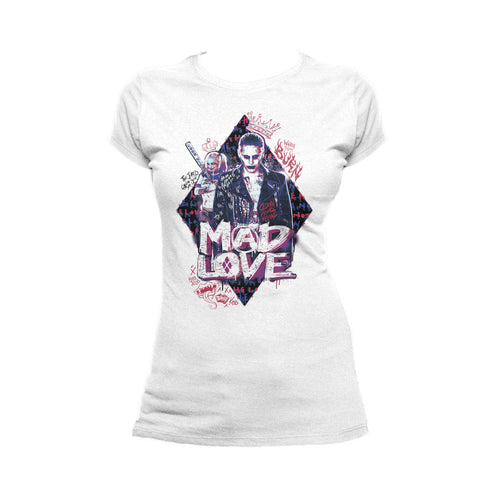 DC Suicide Squad Joker-Harley Quinn Mad Love Official Women's T-shirt (White) - Urban Species Ladies Short Sleeved T-Shirt
